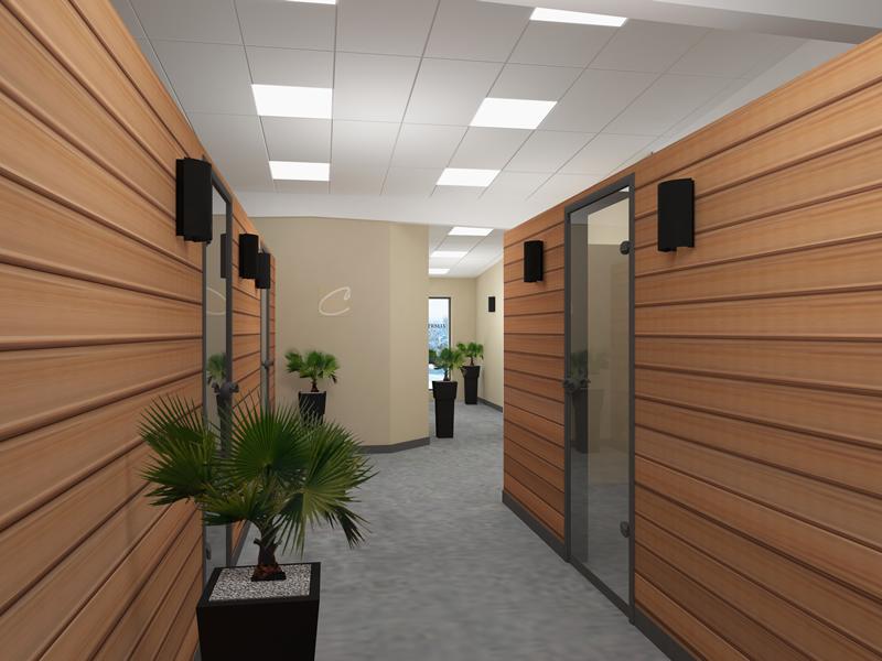 couloir entreprise bois lumineux - location salle de séminaire grenoble