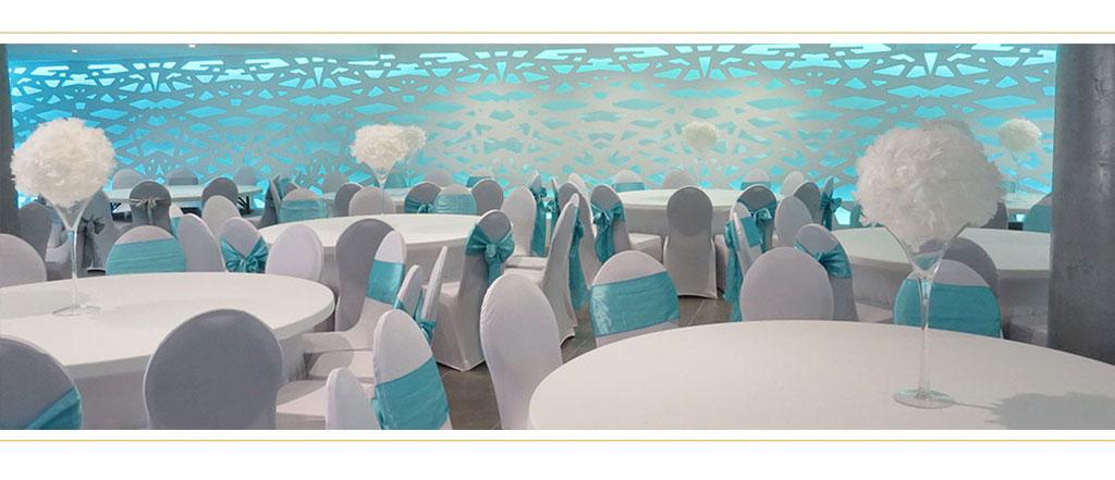 blanc et bleu réception - location salle de mariage Grenoble